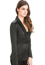NWT GUESS Leslie Studded Shoulder Ponte Boyfriend Blazer Jacket Black S 4 5
