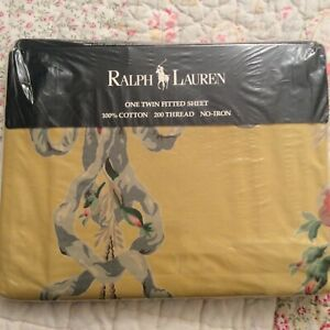 NIP Ralph Lauren Evelyn Yellow Twin Fitted Sheet