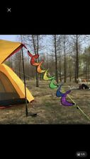 Wind Spinner Rainbow Spiral Windmill 4 Pack Foldable Camping Tent Home Garden