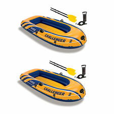 Intex Challenger 2 Inflatable 2 Person Boat Raft Set w/ Oars & Air Pump (2 Pack)