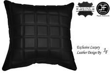 """1X EXCLUSIVE LUXURY GENUINE LEATHER CUSHION BLACK QUILTED SQUARES PADDED 18""""x18"""""""