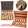 5/6/12X Wood Carving Hand Tool Chisel Set Woodworking Professional Gouge In Case