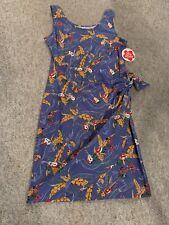 HILO HATTIE Original Faux Wrap Hawaiian DRESS, Sleeveless Blue Ukulele Luau, NEW