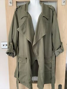 EXCELLENT DEBENHAMS RED HERRING LIGHTWEIGHT GREEN KHAJI JACKET 14 BELTED