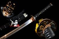 CLAY TEMPERED SHIHOZUME STRUCTURE BLADE JAPANESE BLACK KATANA SWORD RAZOR SHARP
