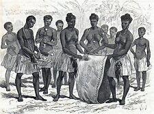 Antique print Africa / african musicians / music 1878 holzstich Afrika