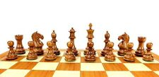 "Fierce Knight Staunton Golden Rosewood Chess Set Pieces 3""+ 2 Extra Queens"