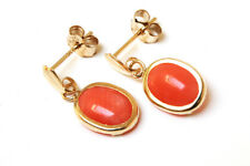 9ct Gold Coral Oval Drop earrings Gift Boxed Made in UK