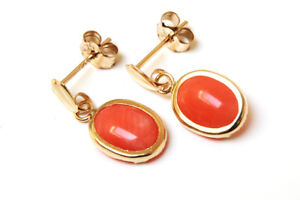 9ct Gold Coral Drop earrings Gift Boxed Made in UK