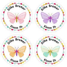 24 individuelle Aufkleber Schule – mit Schmetterling Motiv für Mädchen - PAPI...