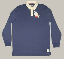 Tommy Jeans Hilfiger USA Rugby Long Sleeve Polo Men's Medium Logo Blue Shirt NWT
