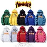 THRASHER flame print plus velvet hooded sweater for men and women #
