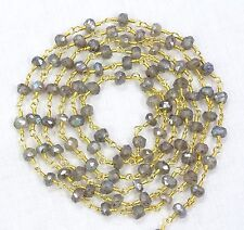 5 Feet  LABRADORITE Silver Mystic Faceted Link Chain Beads Gold Plated For Sale.