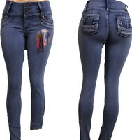 Tush push up Colombian stretch 1524 med blue levanta cola high waist skinny jean