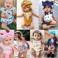 Newborn Infant Baby Girls Lace Floral Romper Jumpsuit Outfits Sunsuit 0-24M