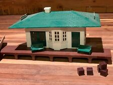 Vintage Plasticville Passenger Station Kit w/ Benches & Freight, Grade Crossing
