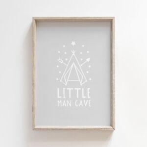 Little Man Cave White on Grey Nursery Print Baby Boys Room Wall Art Decor