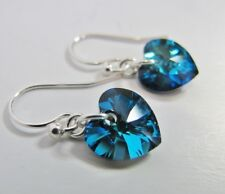 Earrings Made With Swarovski Bermuda Blue Heart & Solid 925 Sterling Silver