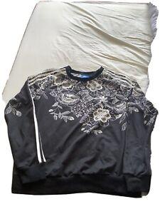 Adidas Black & Cream Lace Print Sweatshirt