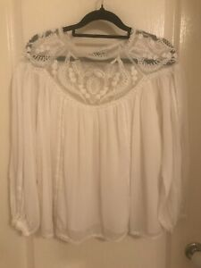 Forever New cream embroidered blouse size 6