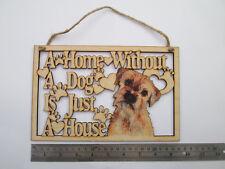 Border Terrier, grande, in legno, Dog House e home PLACCA, DISPONIBILI altre razze