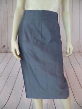 Mondi Skirt 36 Steel Blue Gray Shiny Rayon Mohair Silk Blend Straight Lined CHIC