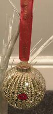 BRANDNEW LARGE CHRISTMAS BAUBLE GOLD & RED GLITTER RIBBON