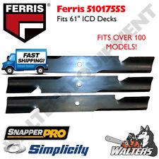"(3) Genuine OEM Blades 5101755  61"" iCD - Ferris   Simplicity   Snapper Pro"