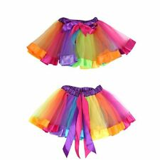 Girls Kids Rainbow Ballet Dance Tutu Skirt Party Tulle  Pettiskirt Dress Costume