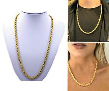 "MENS & WOMANS 5mm ROPE CHAIN Necklace ""PVD BONDED 18k GOLD""-16"",18"",20"",24"",30"""
