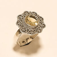 Natural Spanish Citrine Ring 925 Sterling Silver Mothers day Valentine Jewelry