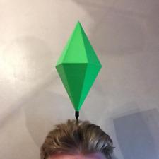 Sims HUGE Plumbob Headwear GREEN Mood Plum Bob Headband Costume Cosplay Sim