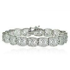 Silver Tone 0.25ct Natural Diamond Filigree Tennis Tennis Bracelet in Brass