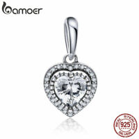Bamoer A 925 Sterling Silver charm Dangle Shining Heart With Zircon Fit Bracelet