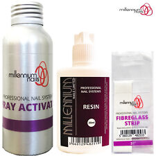 Millennium Nails Professional FIBREGLASS Trial Kit Activator Spray Resin & Wrap