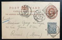 1895 Cape Town South Africa Postal Stationery Postcard cover To Reims France