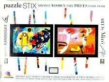 Puzzle Stix Wooden Pieces With Frame; Art by Wassily Kandinsky & Joan Miro,NEW