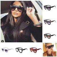 Fashion Designer Women Sunglasses Oversized Flat Top Square Frame Retro UK Stock