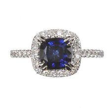Halo Sapphire White Gold Fine Rings