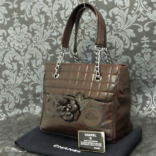 Rise-on CHANEL Chocolate bar Lamb Skin Brown Camellia No. 5 Tote bag #2009