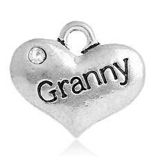 20PCs Pop Metal Charm Pendants Rhinestone Granny Carved Heart Silver Tone