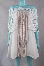 Authentic Self Portrait size 12 UK 8 US White Lace Detail Off The Shoulder Dress