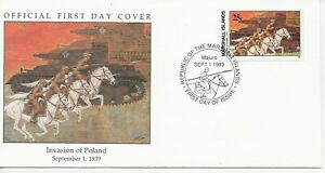 50th Ann WWII Comm/FDC - Marshall Isles - Invasion of Poland -1989 (1133)Z