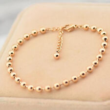 316L Stainless Steel 14K Rose Gold  Beads Chain Womens Bracelet Fashion Jewelry