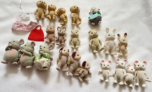 Lot of 21 Calico Critters Mice Dogs Bunnies Pigs Plus