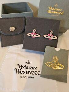 Vivienne Westwood pink enamel Orb Earrings New With Box
