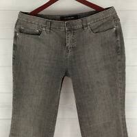 Calvin Klein Womens Size 10 Short Stretch Gray Mid Rise Detailed Flare Jeans