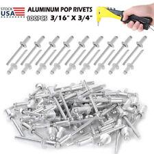 100pcs Large Flange Aluminum Pop Rivets 316 X 34 Big Head Steel Tools Kit Us