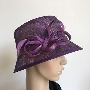 Ladies Purple Organza Formal Race Wedding Fascinator Hat Xmas Birthday Gift H67