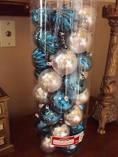 Mixed Lot Of 50 Silver/Teal Christmas Tree Ornaments Ball Shatterproof Glitter